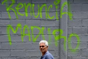 Grafitis en contra de Maduro en Caracas (fuente: AFP).