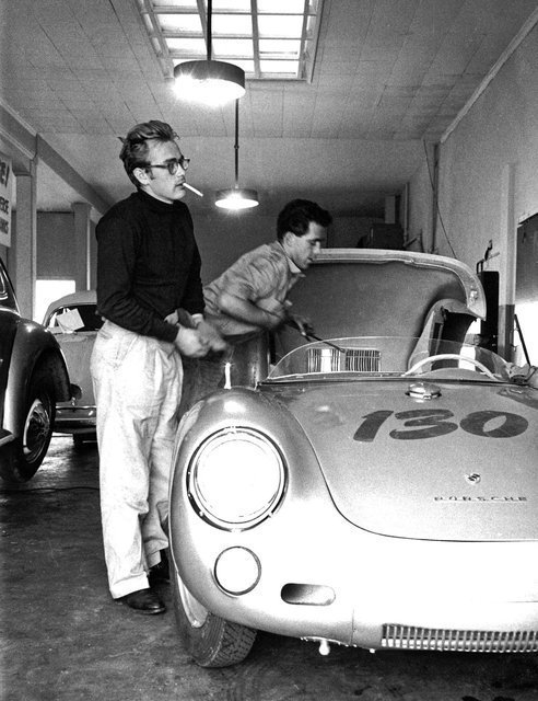 James Dean (with friend / mechanic Rolf) and his 1955 Silver Porsche 550 Spyder – 'Little Bastard'. A cult sports car...