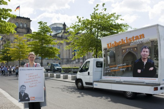 Recent protests in Berlin calling for the release of Uzbek journalist Salijon Abdurakhmanov | source: www.uznews.net