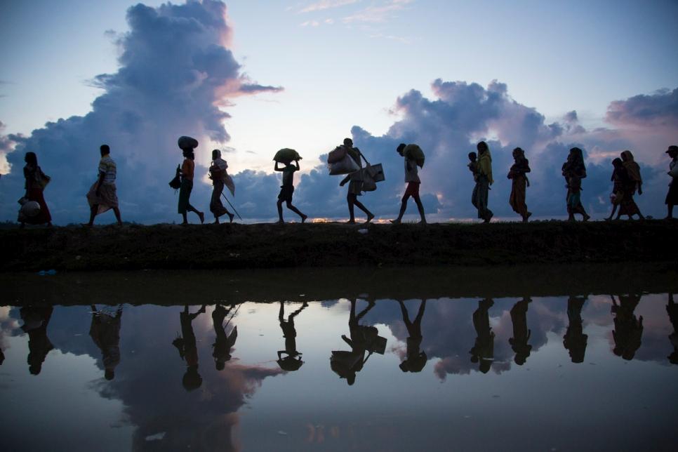 Fuente: ACNUR. Refugiados rohingya cruzan la frontera desde Myanmar, cerca del pueblo de Anzuman, hacia Bangladesh