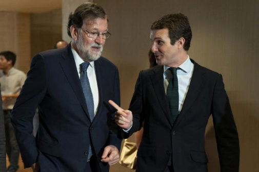Mr Pablo Casado with Mr Mariano Rajoy (current and latest PP leaders) on July 2019 in Madrid, Spain. Source: David Mudarra (El Mundo)